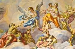 Biblical fresco. Detail of the biblical fresco of the Karlskirche in Vienna Royalty Free Stock Photo