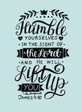 Biblical hand lettering Humble yourself in the sight of the Lord.