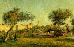 Biblical hills hills near old of Jerusalem Stock Images