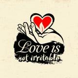 Biblical illustration. Christian typographic. Love is not irritable, 1 Corinthians 13:5.