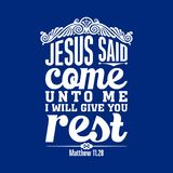 Biblical illustration. Come to me, all who labor and are heavy laden, and I will give you rest stock illustration