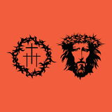 Biblical illustration. Face of Jesus Christ. Crown of thorns and crosses Stock Photography