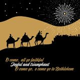 Biblical illustration. The wise men go to Bethlehem to worship the born baby Christ stock illustration