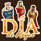 Biblical Magi for Epiphany or in Spanish `Dia de Reyes`, Vector Illustration Royalty Free Stock Photos