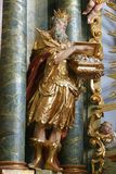Biblical Magi Melchior. Statue on the altar in the Baroque Church of Our Lady of the Snow in Belec, Croatia Stock Photos