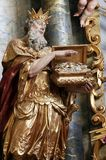 Melchior, Biblical Magi. Biblical Magi Melchior statue on the altar in the Baroque Church of Our Lady of the Snow in Belec, Croatia Royalty Free Stock Images