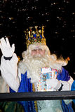 Biblical Magi parade in Spain. BARCELONA - JANUARY 5: Melchior King at the parade of the Biblical Magi Three Kings, who give toys to the children. Is a Stock Photography