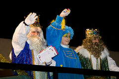 Biblical Magi parade in Spain. BARCELONA - JANUARY 5: Melchior and Gaspar Kings at the parade of the Biblical Magi Three Kings, who give toys to the children. Is Royalty Free Stock Photos