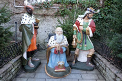 Biblical Magi. Or Three Wise Men in front the church in St. Wolfgang on Wolfgangsee in Austria on December 14, 2014 Royalty Free Stock Images