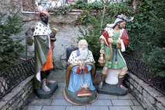 Biblical Magi. Or Three Wise Men infront the church in St. Wolfgang on Wolfgangsee in Austria on December 14, 2014 Stock Photos