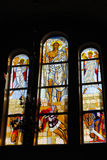 Biblical motif depicted on the window of the church in the techn Royalty Free Stock Photography