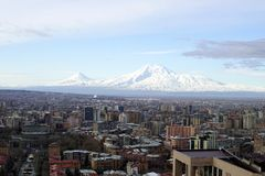 Biblical Mount Ararat. Biblical Mount Ararat review in early spring view from the Yerevan city  ,ARMENIA royalty free stock photos