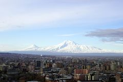 Biblical Mount Ararat. Biblical Mount Ararat review in early spring view from the Yerevan city  ,ARMENIA stock photography