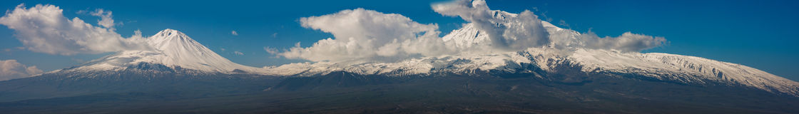 Biblical Mountain Ararat. Wide panorama of Biblical Mountain Ararat Stock Photo