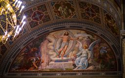 Biblical paintings in the temple. Bukovina in Ukraine Stock Images