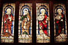 Biblical prophets. St. George's Anglican Cathedral stained glass art - four biblical prophets: Isaiah, Jeremiah, Ezekiel, Daniel. Perth, Western Australia Stock Photography