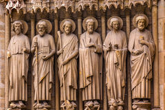 Biblical Saint Statues Door Notre Dame Cathedral Paris France Royalty Free Stock Images