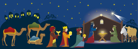 Biblical scene. Three Kings coming to Bethlehem, nativity scene whit three magi, Jesus, Mary, Josef and animals, Biblical scene Stock Image