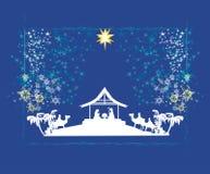 Biblical scene - birth of Jesus in Bethlehem. Royalty Free Stock Photo