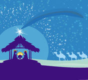 Biblical scene - birth of Jesus in Bethlehem. Royalty Free Stock Images