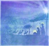 Biblical scene - birth of Jesus in Bethlehem. Royalty Free Stock Image