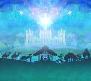 Biblical scene - birth of Jesus in Bethlehem. Biblical scene - birth of Jesus in Bethlehem, raster illustration Royalty Free Stock Images