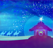 Biblical scene - birth of Jesus in Bethlehem. Royalty Free Stock Photo
