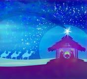 Biblical scene - birth of Jesus in Bethlehem. Biblical scene - birth of Jesus in Bethlehem, raster illustration Royalty Free Stock Photo