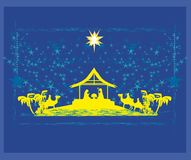 Biblical scene - birth of Jesus in Bethlehem. Biblical scene - birth of Jesus in Bethlehem, Vector Illustration Royalty Free Stock Photos