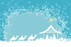 Biblical scene - birth of Jesus in Bethlehem. Royalty Free Stock Images