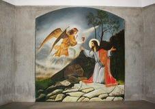 Biblical scene fresco. Old biblical scene fresco in a monastery wall. Location: Radna Monastery Romania Stock Photos