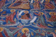 Biblical scene of the Jessé tree, Moldovita. Church of the Annunciation of the Moldovita Monastery, Exterior wall paintings representing the biblical scene of stock image