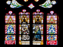 Biblical Scene Stained Glass Inside Gothic Roman Catholic Church of Saint Michael Stock Photos