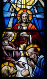 Biblical scene(stainled glass) Royalty Free Stock Image