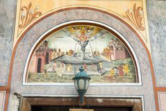 Biblical scenes of life in the monastery wall paintings Stock Photography