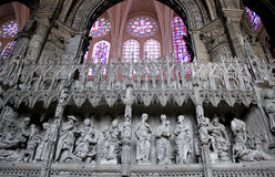 Biblical scenes in sculptures, Chartres cathedral Stock Photos