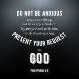 Biblical scripture verse from Philippians, do not be anxious about anything. typographic design. On glitter background royalty free illustration