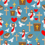 Biblical seamless pattern. Jesus and Bible. Cross and white dove Stock Images