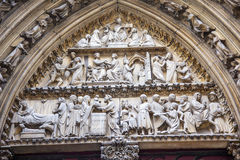 Biblical Statues Cloisters Door Notre Dame Paris France Royalty Free Stock Images
