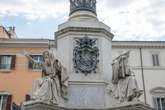Biblical Statues in Rome, Italy. Biblical Statues at Base of Colonna dell`Imacolata Royalty Free Stock Image