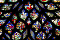 Biblical Stories Rose Window Stained Glass Sainte Chapelle Paris France Stock Photography