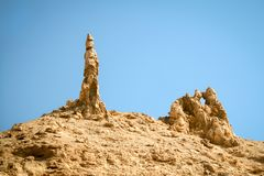Rocky outcrop traditionally considered to be the pillar of salt from the biblical story of Lot`s Wife royalty free stock image