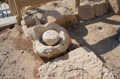 Biblical Tamar park, Arava, South Israel. Olive press Stock Photo