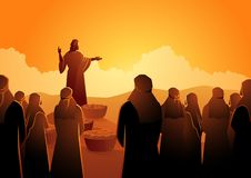 Jesus feeds the five thousand. Biblical vector illustration series, Jesus feeds the five thousand or feeding the multitude royalty free illustration
