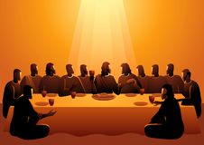 Jesus shared with his Apostles. Biblical vector illustration series, Jesus shared with his Apostles in Jerusalem before his crucifixion, The Last Supper stock illustration