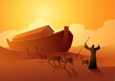 Noah and the ark before great flood. Biblical vector illustration series, Noah and the ark before great flood vector illustration