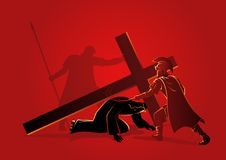 Jesus falls for the third time. Biblical vector illustration series. Way of the Cross or Stations of the Cross, ninth station, Jesus falls for the third time vector illustration