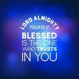 Biblii wycena od psalmu 84:12, władyka bóg wszechmogący, błogosławi jest jeden ilustracja wektor