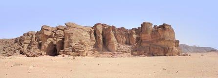 Biblijna dolina Timna w południe Izrael i krater Obrazy Stock