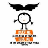 Biblijna ilustracja Utrzymuje ja jako jabłko twój oko; chuje ja w cieniu twój skrzydeł ilustracja wektor